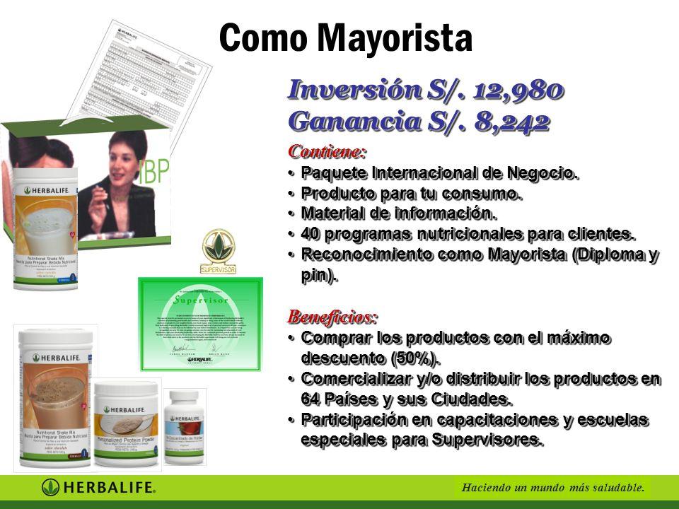 Como Mayorista Inversión S/. 12,980 Ganancia S/. 8,242 Contiene: