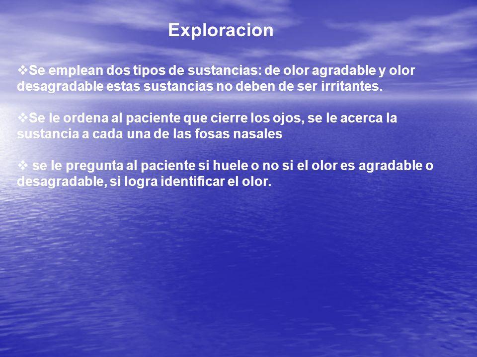 Exploracion Se emplean dos tipos de sustancias: de olor agradable y olor desagradable estas sustancias no deben de ser irritantes.