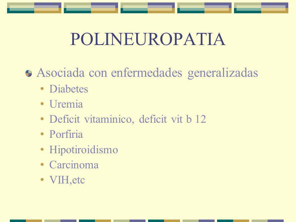 POLINEUROPATIA Asociada con enfermedades generalizadas Diabetes Uremia