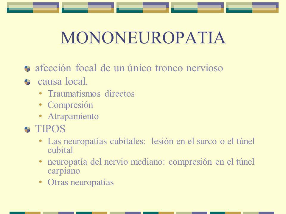 MONONEUROPATIA afección focal de un único tronco nervioso causa local.