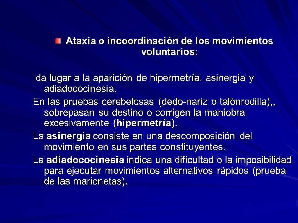 Ataxia o incoordinación de los movimientos voluntarios: