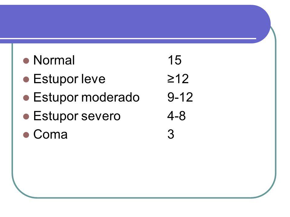 Normal 15 Estupor leve ≥12 Estupor moderado 9-12 Estupor severo 4-8 Coma 3
