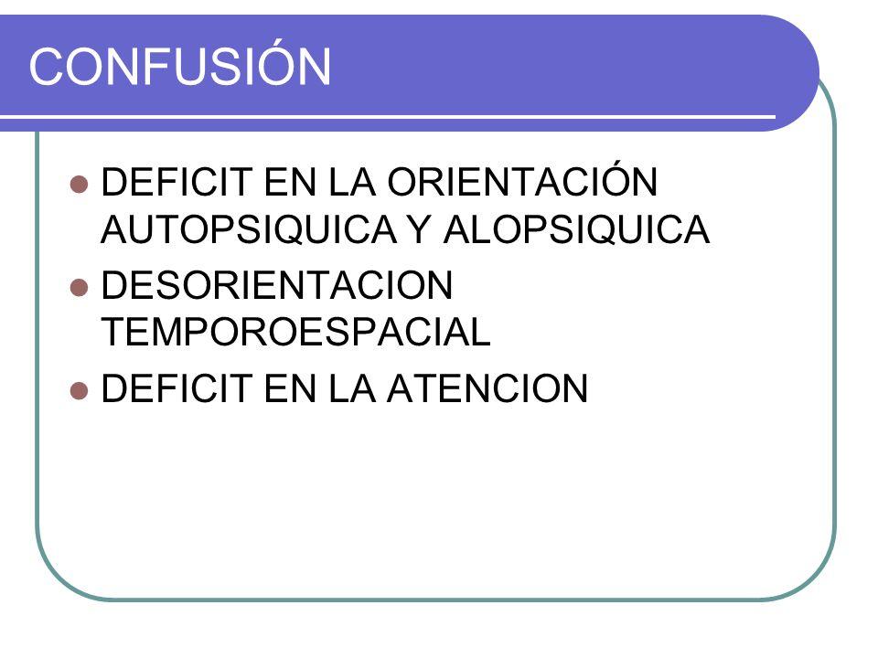 CONFUSIÓN DEFICIT EN LA ORIENTACIÓN AUTOPSIQUICA Y ALOPSIQUICA