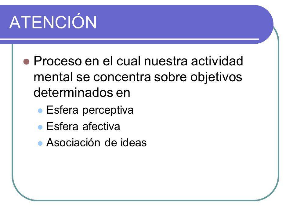 ATENCIÓN Proceso en el cual nuestra actividad mental se concentra sobre objetivos determinados en. Esfera perceptiva.