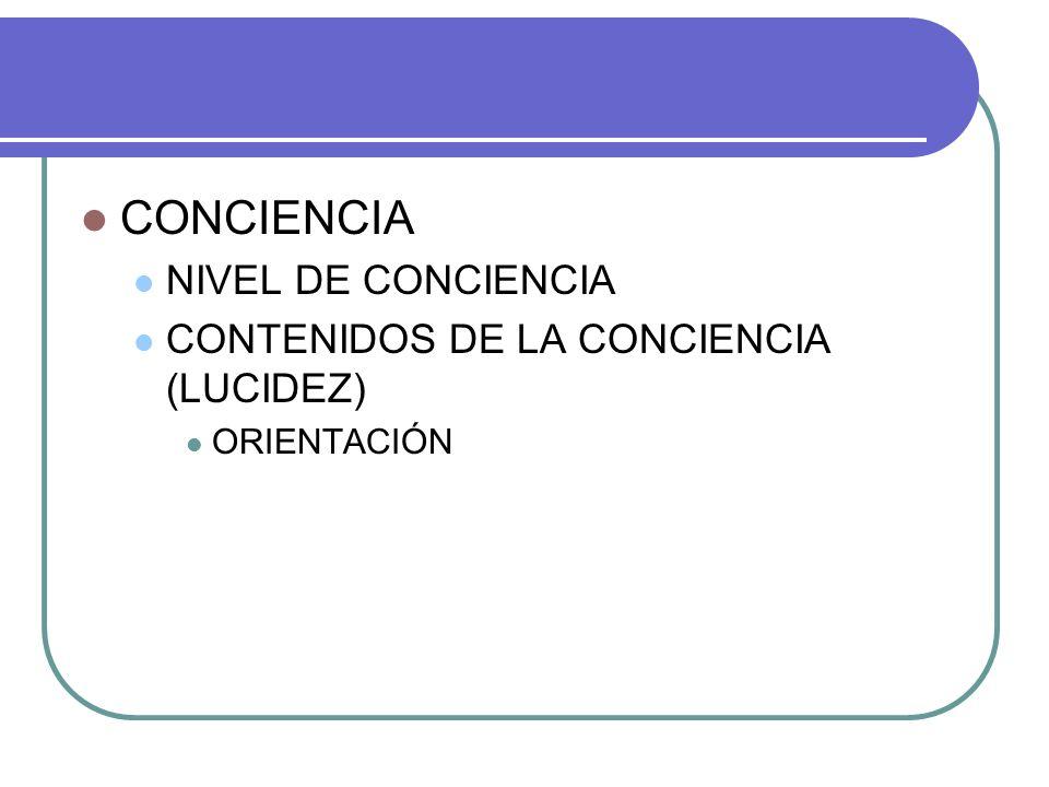 CONCIENCIA NIVEL DE CONCIENCIA CONTENIDOS DE LA CONCIENCIA (LUCIDEZ)