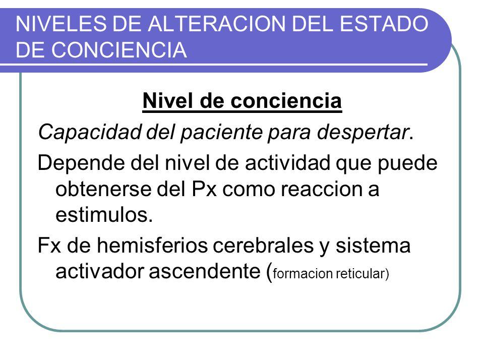 NIVELES DE ALTERACION DEL ESTADO DE CONCIENCIA