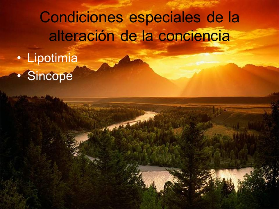 Condiciones especiales de la alteración de la conciencia