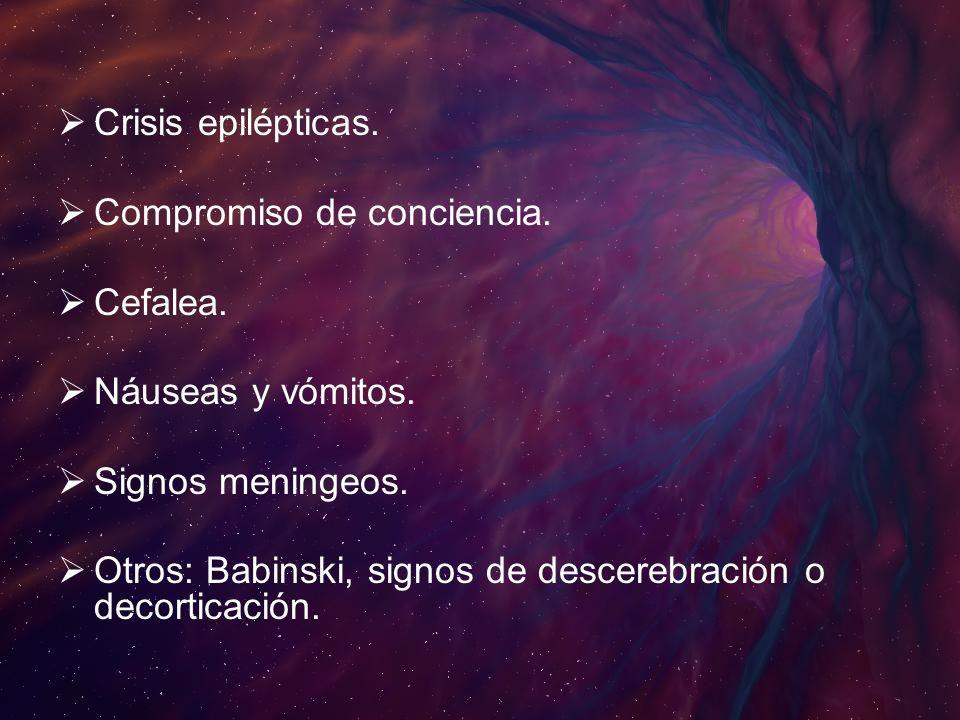 Crisis epilépticas.Compromiso de conciencia. Cefalea. Náuseas y vómitos. Signos meningeos.