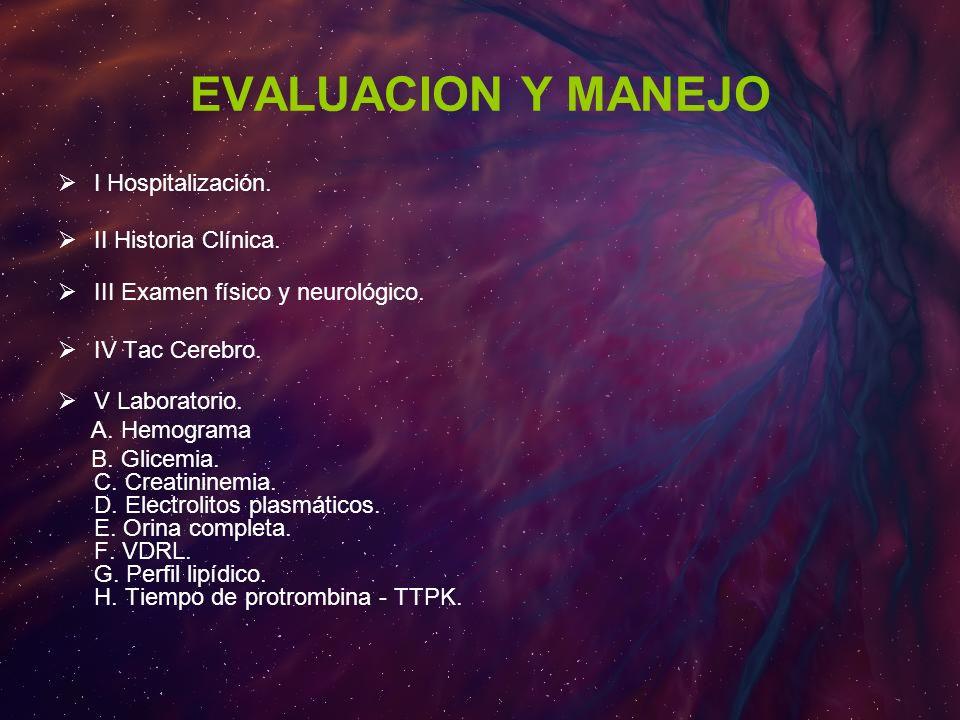 EVALUACION Y MANEJO I Hospitalización. II Historia Clínica.