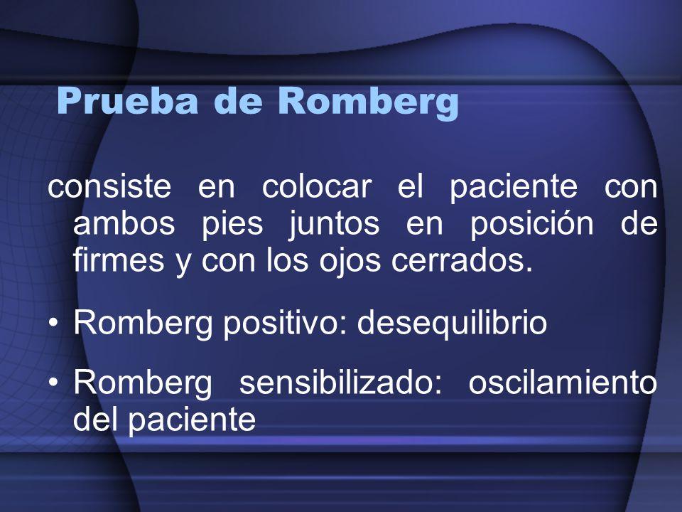 Prueba de Rombergconsiste en colocar el paciente con ambos pies juntos en posición de firmes y con los ojos cerrados.