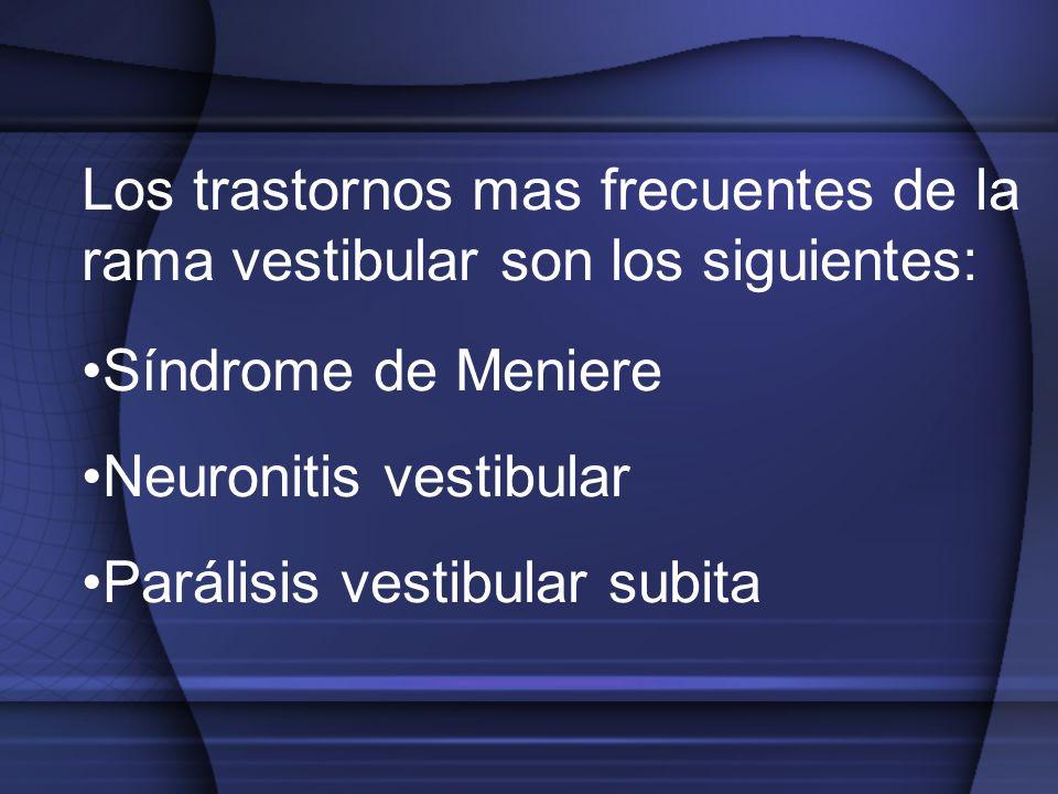 Los trastornos mas frecuentes de la rama vestibular son los siguientes: