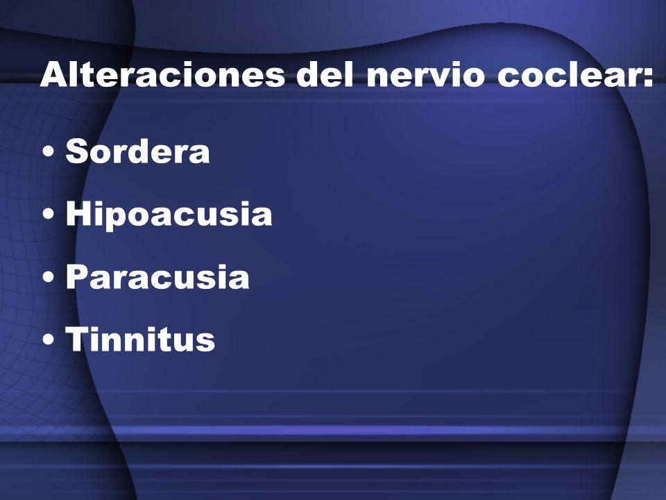 Alteraciones del nervio coclear: