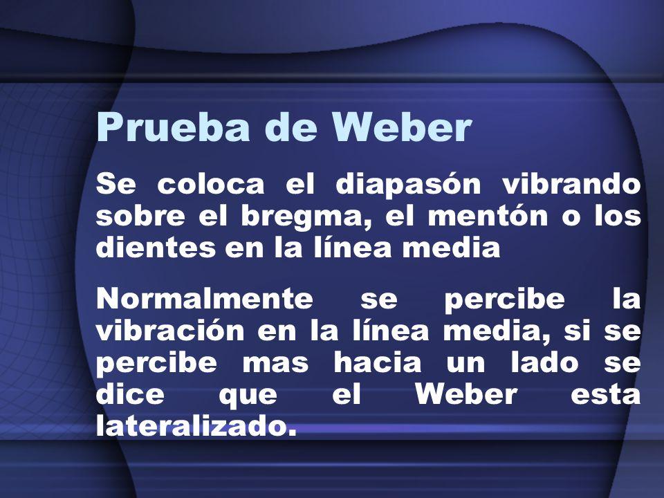 Prueba de WeberSe coloca el diapasón vibrando sobre el bregma, el mentón o los dientes en la línea media.