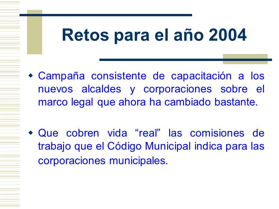 Retos para el año 2004 Campaña consistente de capacitación a los nuevos alcaldes y corporaciones sobre el marco legal que ahora ha cambiado bastante.