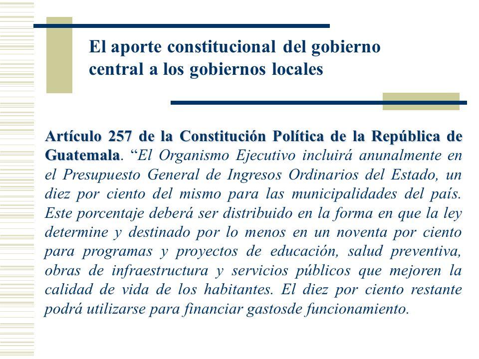 El aporte constitucional del gobierno central a los gobiernos locales