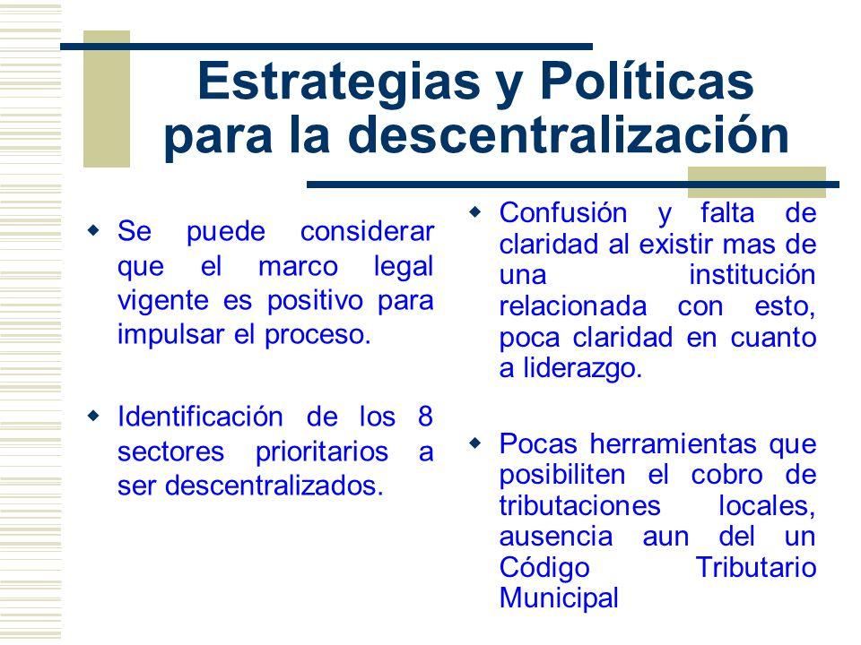 Estrategias y Políticas para la descentralización