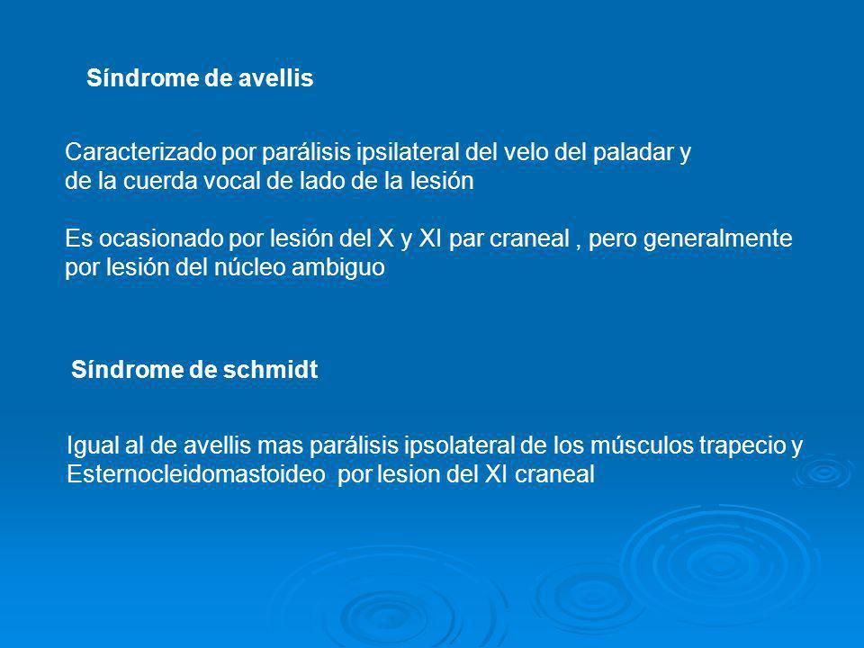 Síndrome de avellisCaracterizado por parálisis ipsilateral del velo del paladar y. de la cuerda vocal de lado de la lesión.