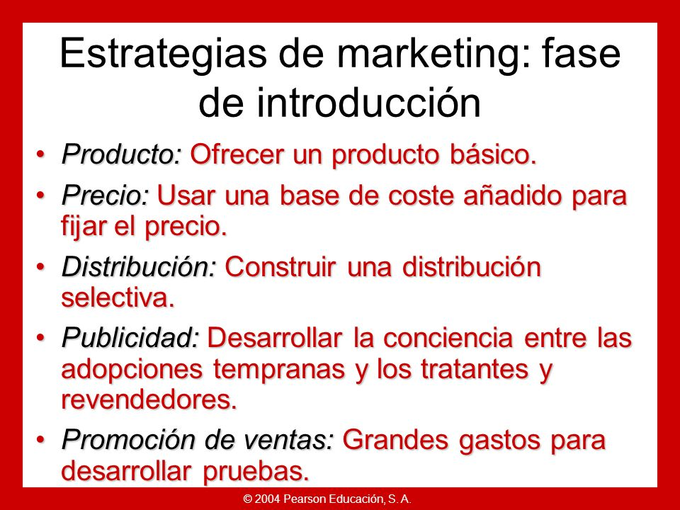 Estrategias de marketing: fase de introducción