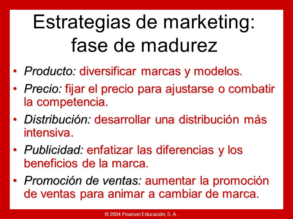 Estrategias de marketing: fase de madurez