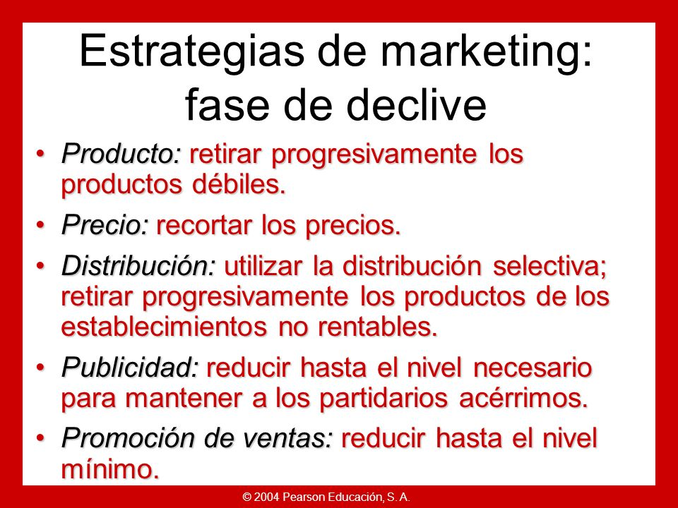 Estrategias de marketing: fase de declive