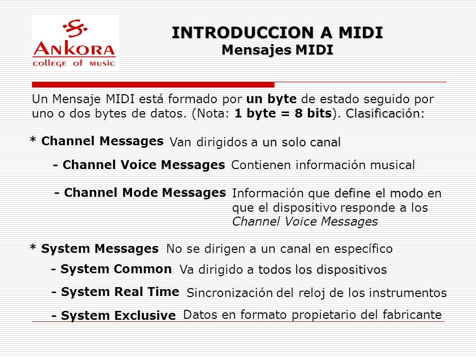INTRODUCCION A MIDI Mensajes MIDI