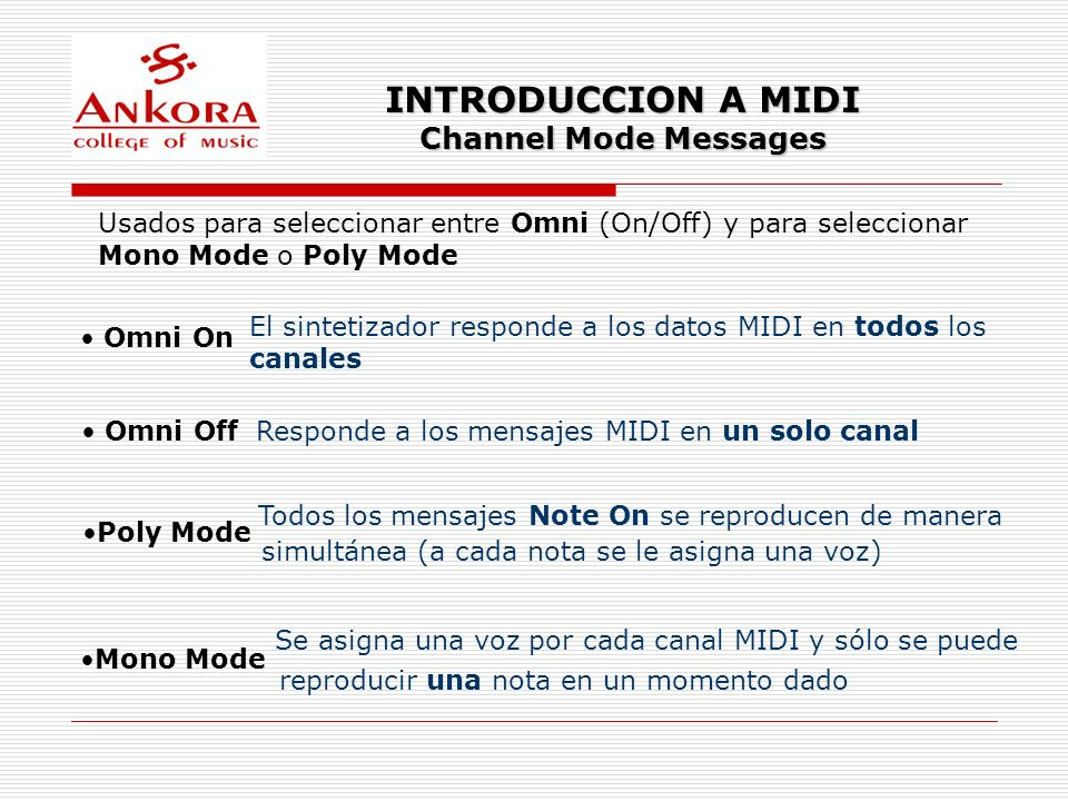 INTRODUCCION A MIDI Channel Mode Messages