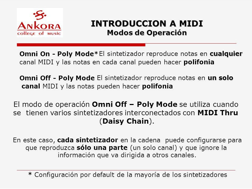 INTRODUCCION A MIDI Modos de Operación