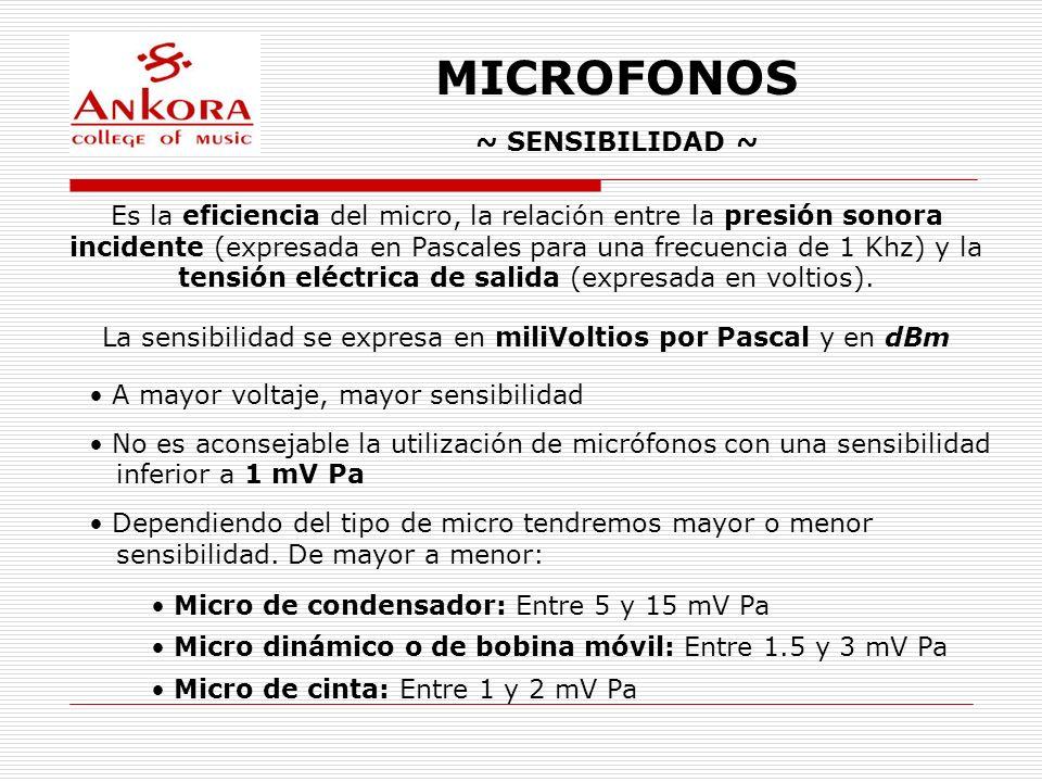 MICROFONOS ~ SENSIBILIDAD ~