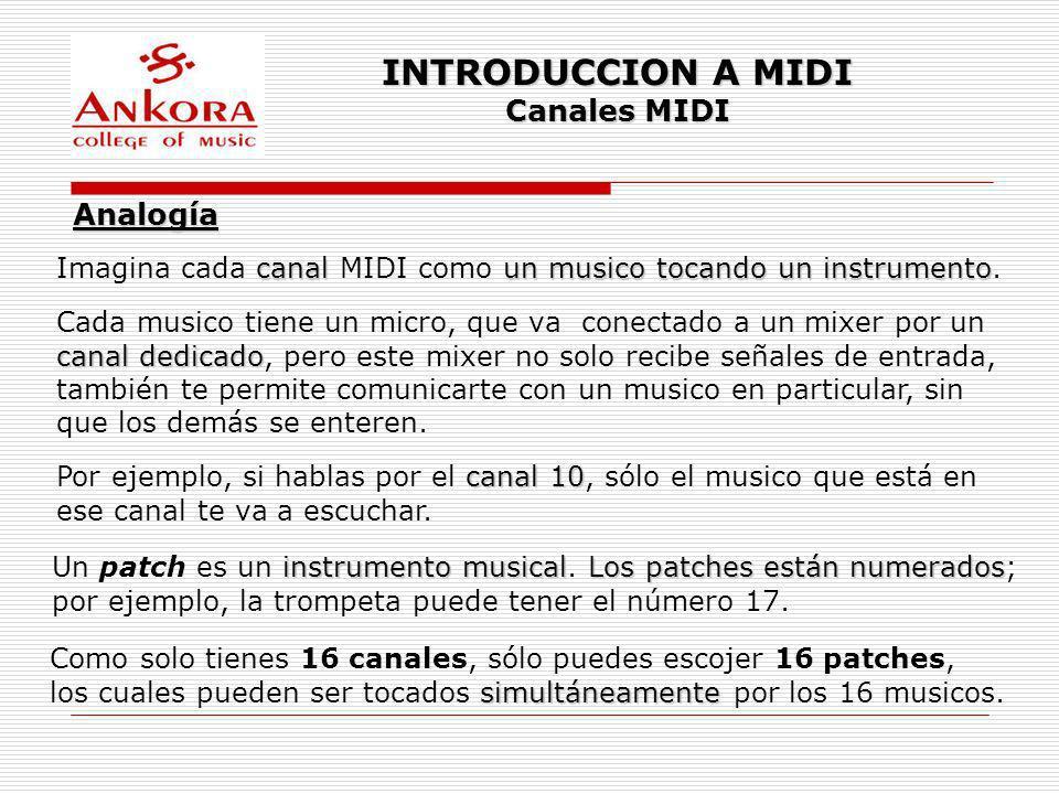 INTRODUCCION A MIDI Canales MIDI Analogía