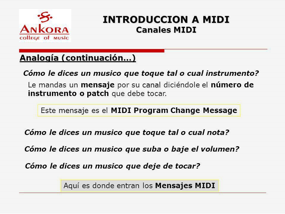 INTRODUCCION A MIDI Canales MIDI Analogía (continuación…)