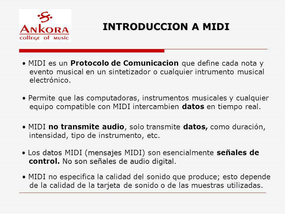 INTRODUCCION A MIDI MIDI es un Protocolo de Comunicacion que define cada nota y. evento musical en un sintetizador o cualquier intrumento musical.