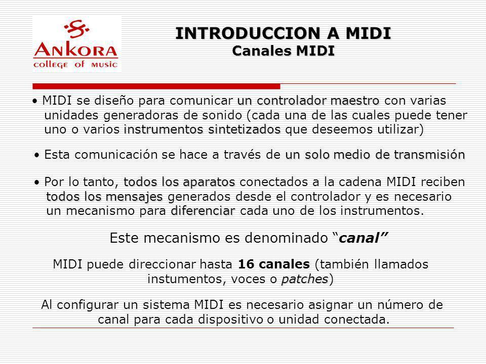 INTRODUCCION A MIDI Canales MIDI Este mecanismo es denominado canal