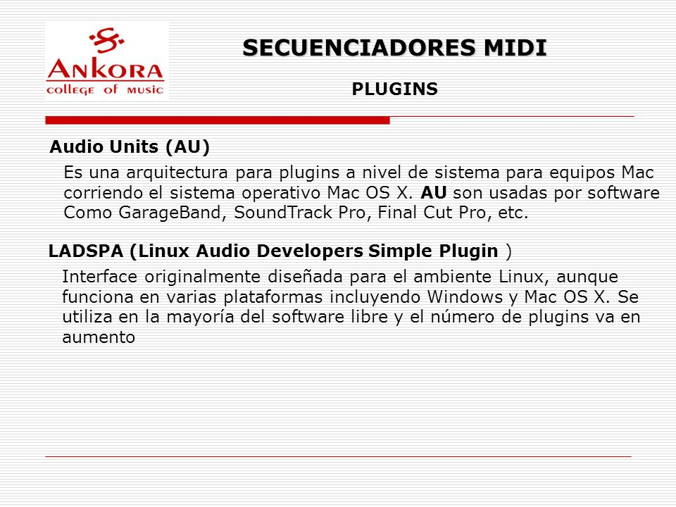 SECUENCIADORES MIDI PLUGINS Audio Units (AU)