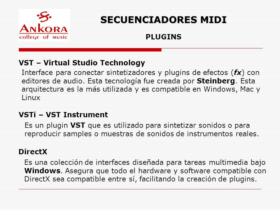 SECUENCIADORES MIDI PLUGINS VST – Virtual Studio Technology