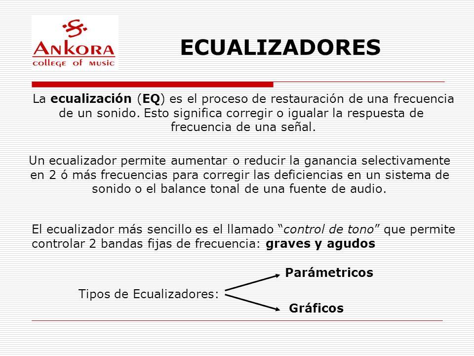 ECUALIZADORESLa ecualización (EQ) es el proceso de restauración de una frecuencia. de un sonido. Esto significa corregir o igualar la respuesta de.