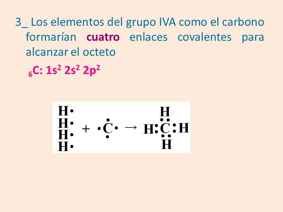 3_ Los elementos del grupo IVA como el carbono formarían cuatro enlaces covalentes para alcanzar el octeto