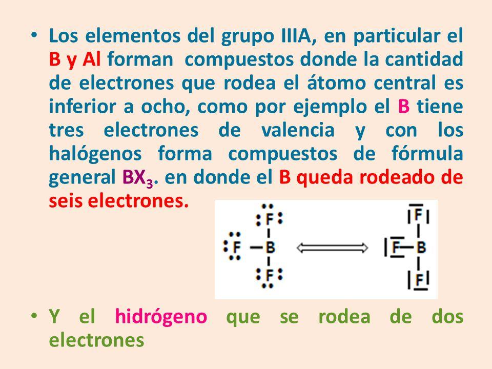 Los elementos del grupo IIIA, en particular el B y Al forman compuestos donde la cantidad de electrones que rodea el átomo central es inferior a ocho, como por ejemplo el B tiene tres electrones de valencia y con los halógenos forma compuestos de fórmula general BX3. en donde el B queda rodeado de seis electrones.