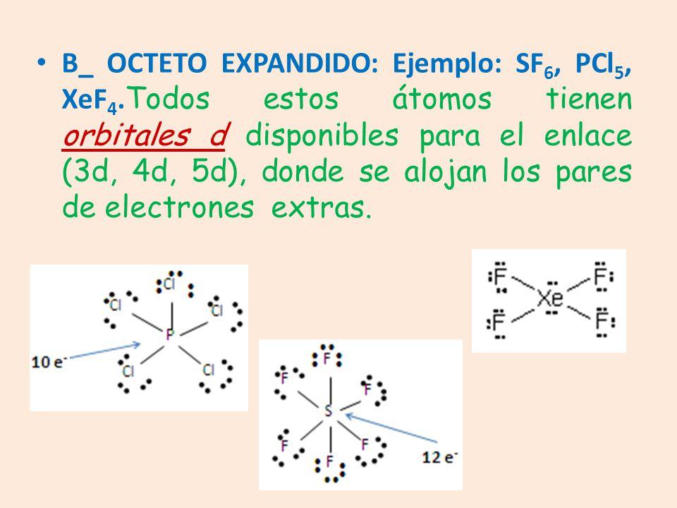 B_ OCTETO EXPANDIDO: Ejemplo: SF6, PCl5, XeF4