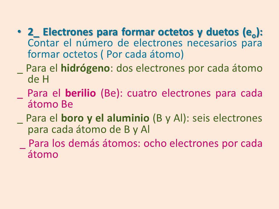2_ Electrones para formar octetos y duetos (eo): Contar el número de electrones necesarios para formar octetos ( Por cada átomo)