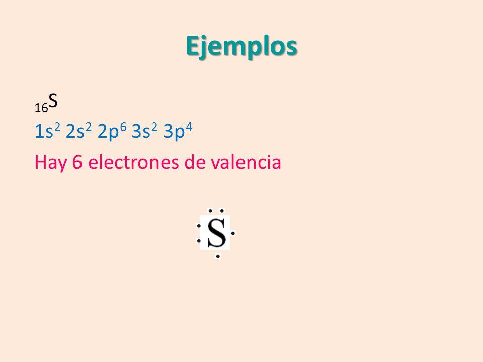 Ejemplos 16S 1s2 2s2 2p6 3s2 3p4 Hay 6 electrones de valencia
