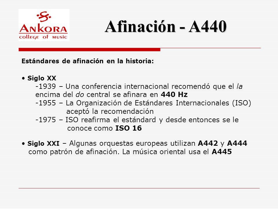 Afinación - A440 Estándares de afinación en la historia: Siglo XX.