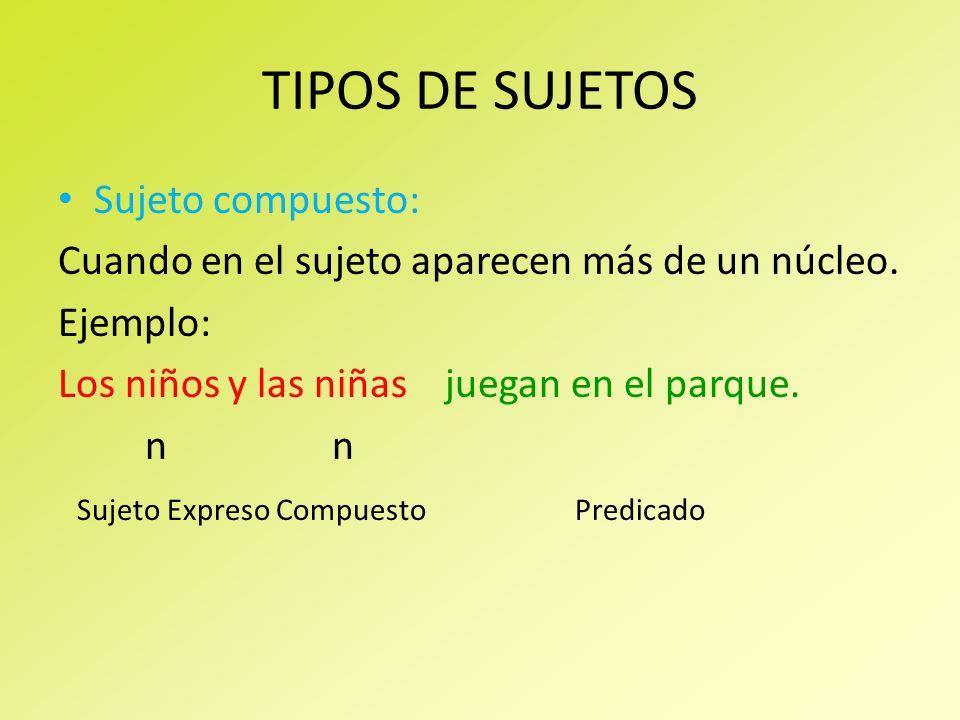 TIPOS DE SUJETOS Sujeto compuesto: