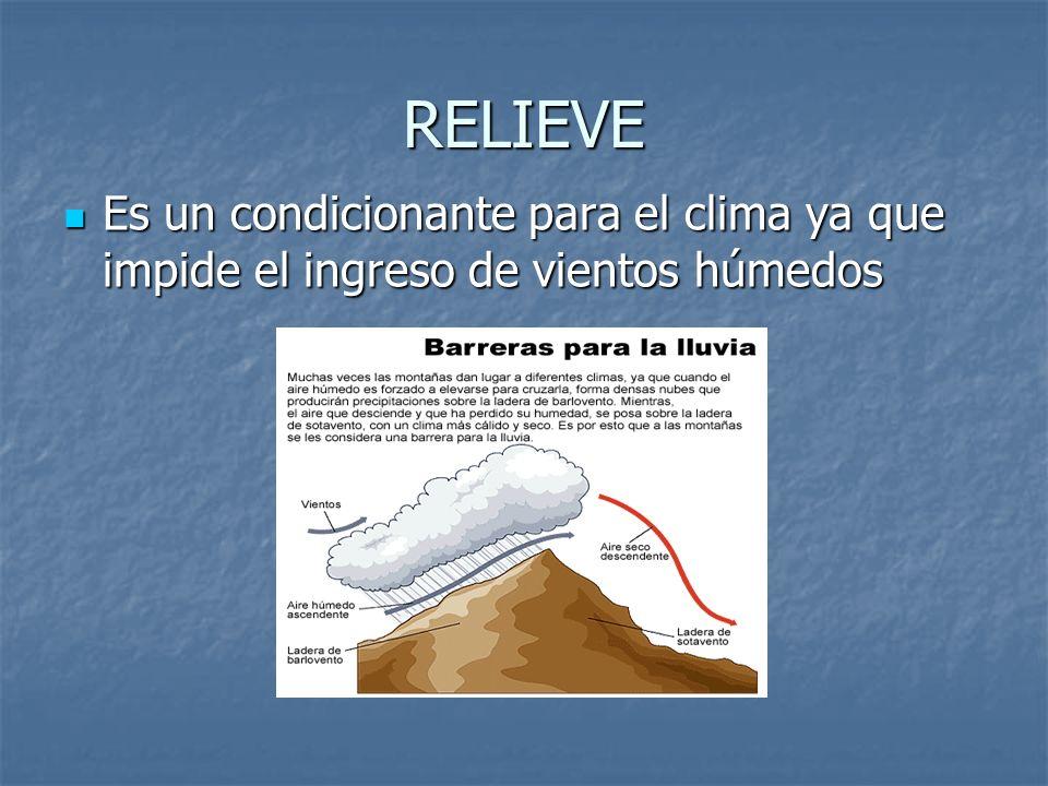 RELIEVE Es un condicionante para el clima ya que impide el ingreso de vientos húmedos