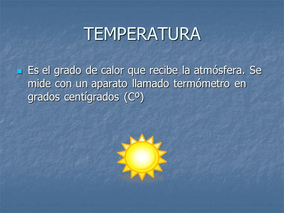 TEMPERATURA Es el grado de calor que recibe la atmósfera.