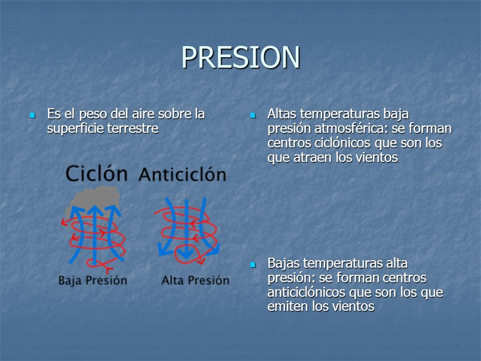 PRESION Es el peso del aire sobre la superficie terrestre