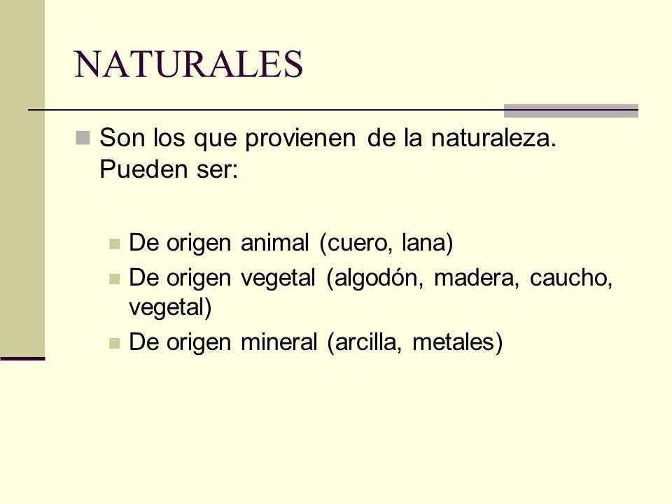 NATURALES Son los que provienen de la naturaleza. Pueden ser: