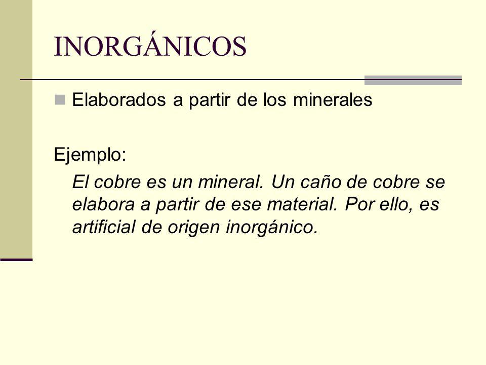 INORGÁNICOS Elaborados a partir de los minerales Ejemplo: