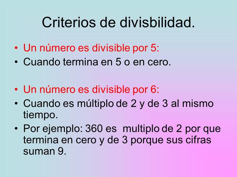 Criterios de divisbilidad.