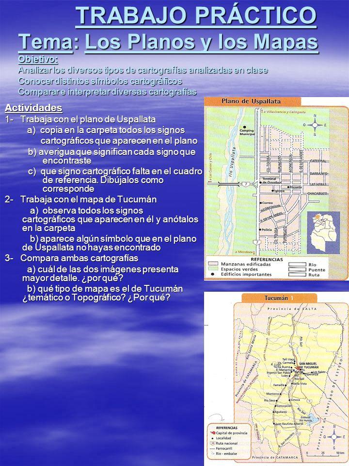 TRABAJO PRÁCTICO Tema: Los Planos y los Mapas Objetivo: Analizar los diversos tipos de cartografías analizadas en clase Conocer distintos símbolos cartográficos Comparar e interpretar diversas cartografías