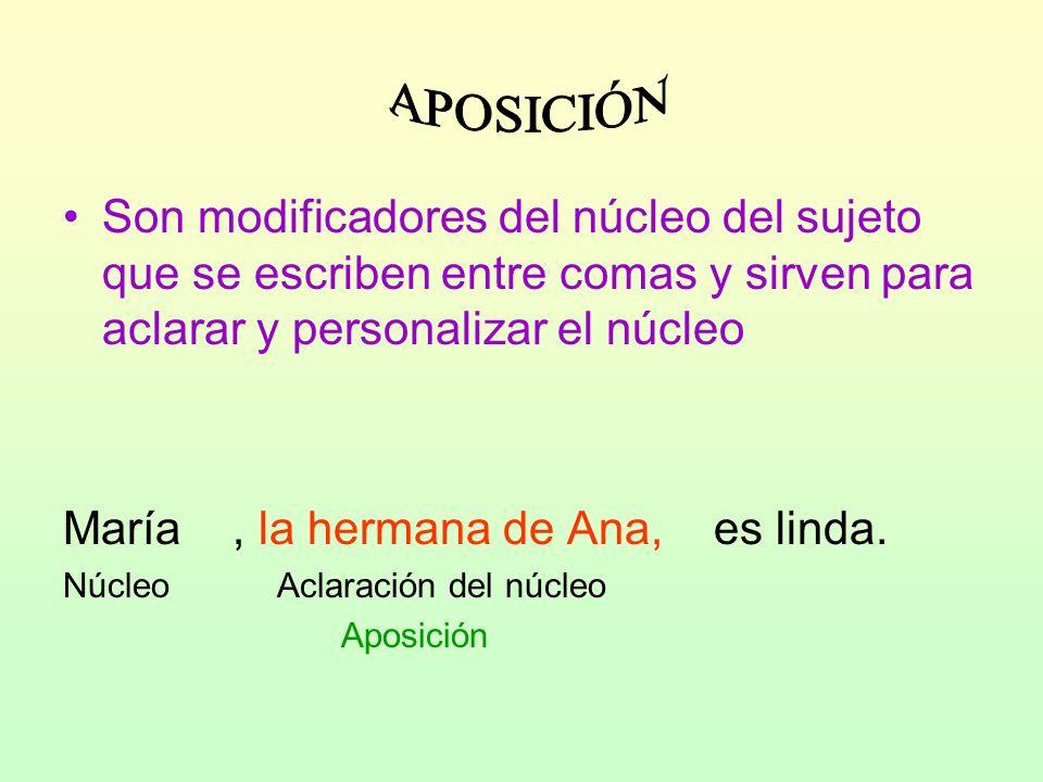 APOSICIÓN Son modificadores del núcleo del sujeto que se escriben entre comas y sirven para aclarar y personalizar el núcleo.